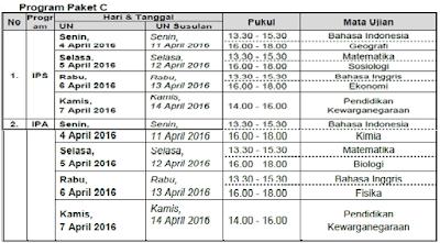 Jadwal UN Program Paket C 2016