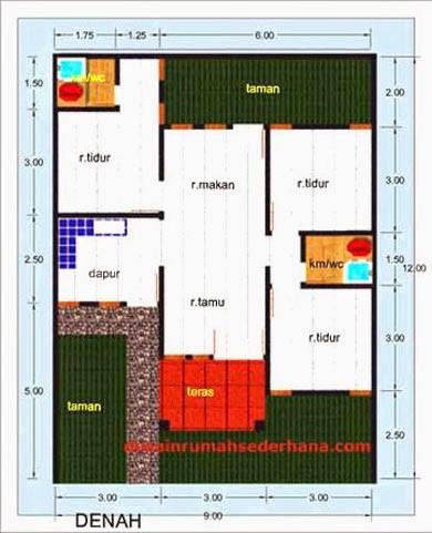 gambar denah rumah luas tanah 100 m2 2