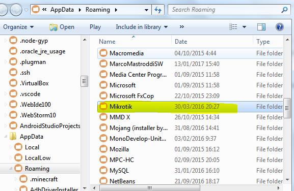 Buka folder Mikrotik di AppData