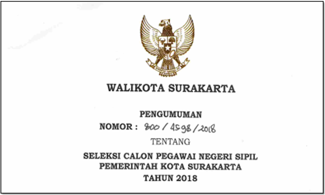 Rincian Formasi CPNS Kota Surakarta Tahun Anggaran 2018