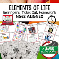 Elements of Life, LIFE SCIENCE Warm Ups & Bell Ringers, LIFE SCIENCE Use Ticket Out, Homework NGSS 6-8 Science, Print and Digital