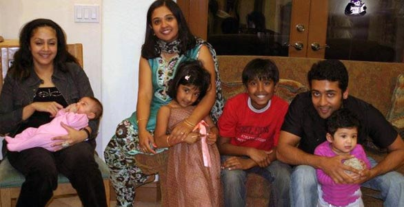 Jyothika with son and surya with daughter(with Surya's sister and her children)
