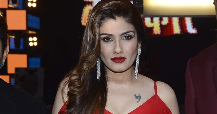 Bollywood Actress Raveena Tandon Hot In Red Dress Photos-8669