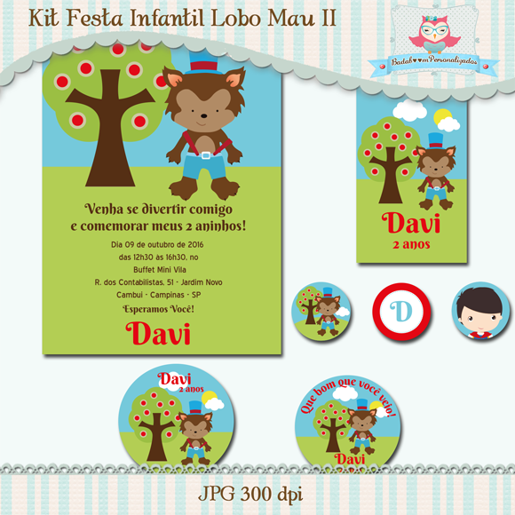 Lobo Mau, arte, digital, kit, festa, infantil, convite, topper, tag, tubete, totem, display, solapa, min to be,