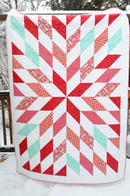 No Point Stars Quilt Free Tutorial Designed by Christie of Lemon Squeezy Home