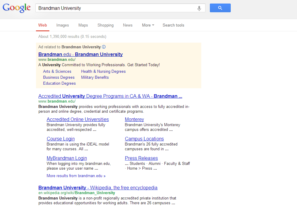 Keyword Marketing An Example Using Brandman University U Of