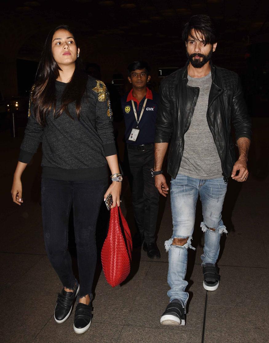 Shahid Kapoor and Mira Rajput Spotted at Mumbai Airport