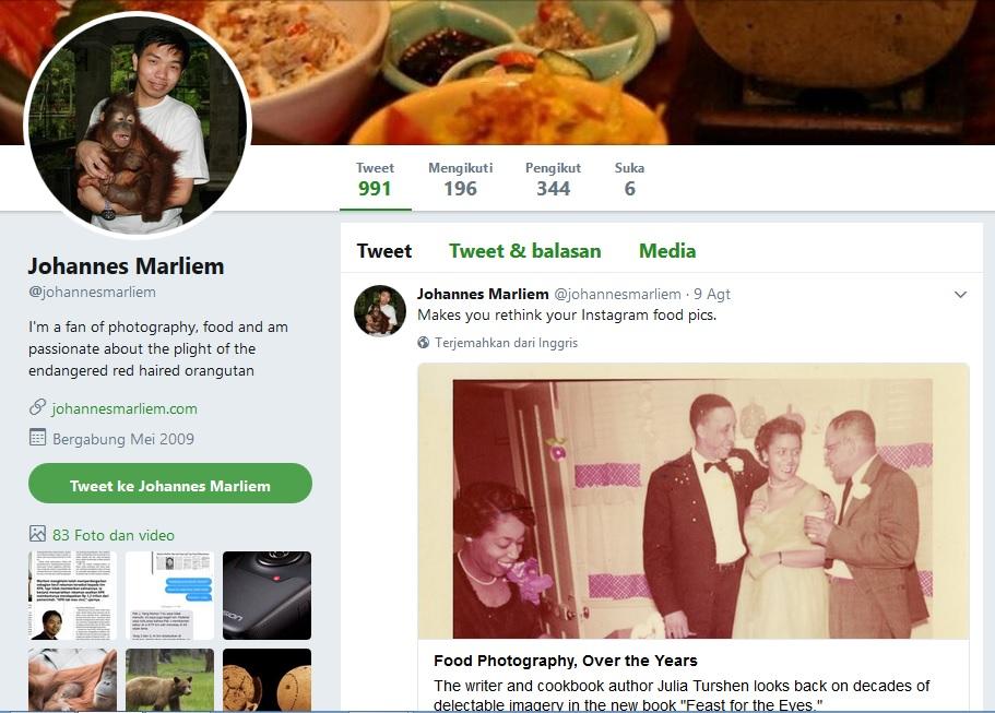 Twit Johannes Marliem dihapus