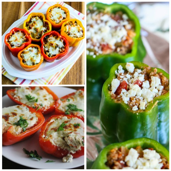 Ten Low-Carb Stuffed Peppers Recipes featured for Low-Carb Recipe Love on KalynsKitchen.com.