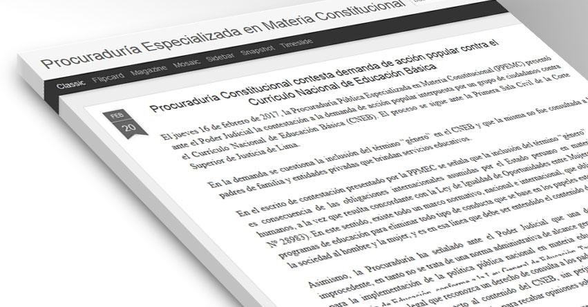 Procuraduría Constitucional contesta demanda de acción popular contra el Currículo Nacional de Educación Básica - CNEB