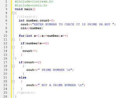 Example Code to Find Prime Number in C++ Programming
