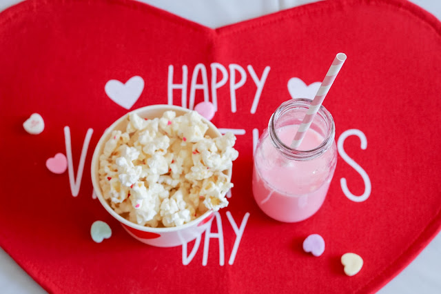 popcorn and strawberry milk at a Simple Valentine's Day party or Valentine's Day playdate