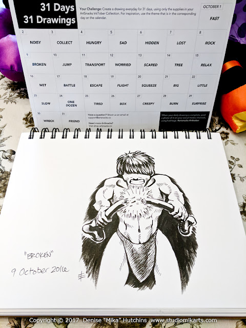 Inktober Calendar and Day 9 Drawing