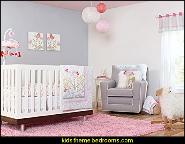 baby girl garden nursery Baby Girls Pink Flower Garden 7pcs Crib Cot Bedding