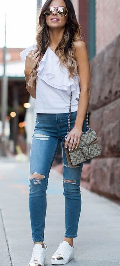 summer casual style perfection: one shoulder top + rips + sunglasses + bag