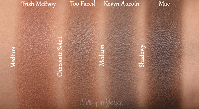 Trish McEvoy Medium Kevyn Aucoin Sculpting Powder Mac Shadowy Swatches