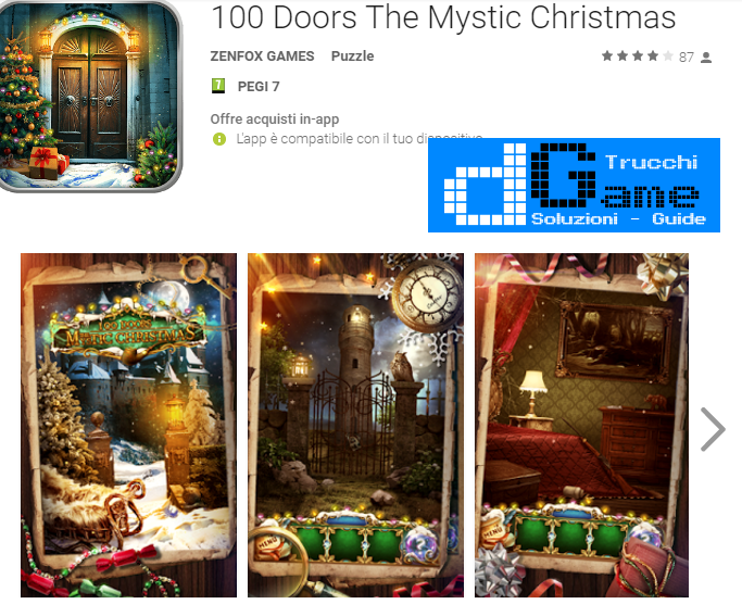 Soluzioni 100 Doors The Mystic Christmas livello  1  2  3  4  5  6  7  8  9 10 | Trucchi e  Walkthrough level