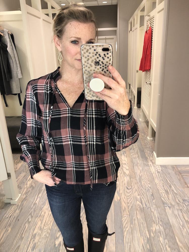 shimmer-plaid-blouson-blouse