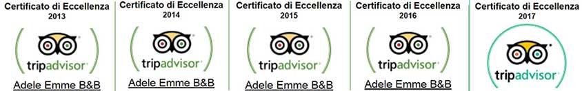I nostri certificati d'eccellenza Tripadvisor per 5 anni consecutivi :-)