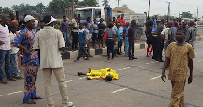 Bus Crushes Man To Death In Lagos - Photos