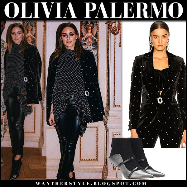 Olivia Palermo in black velvet crystal embellished raquel diniz blazer, leather pants and ankle boots malone souliers madison paris fashion week style 2018