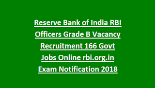 Reserve Bank of India RBI Officers Grade B Vacancy Recruitment 166 Govt Jobs Online Exam Notification 2018