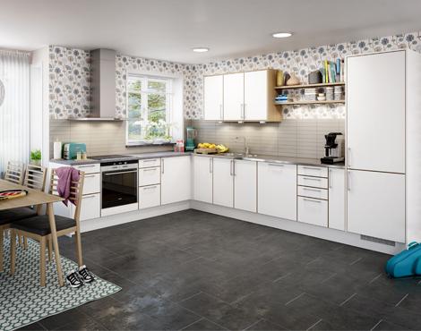 cocina-blanca-con-pared-flores