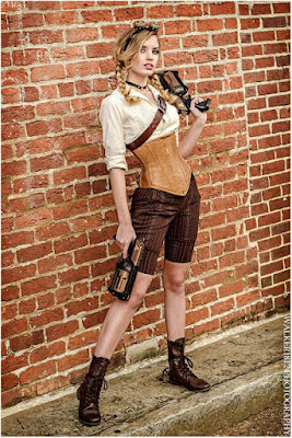 An example of longline corsets used in women's steampunk fashion. This woman wears her longline corset with a blouse, shorts and boots.