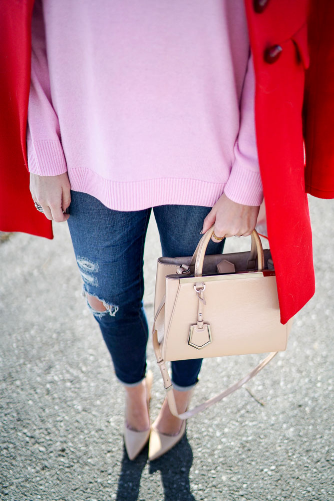 Krista Robertson, Covering the Bases,Travel Blog, NYC Blog, Preppy Blog, Style, Fashion Blog, Travel, Fashion, Style, Valentine's Day, Valentine's Day Outfits, Red and Pink, Casual Looks, What to Wear for Valentine's Day, Bright Colored Coats, Sweater Weather, Nude Heels