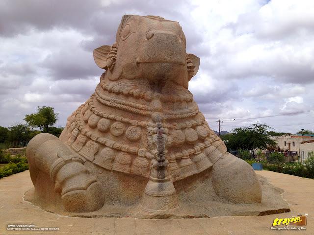Almost 20 feet high monolithic Nandi at Lepakshi at Lepakshi, in Andhra Pradesh, India