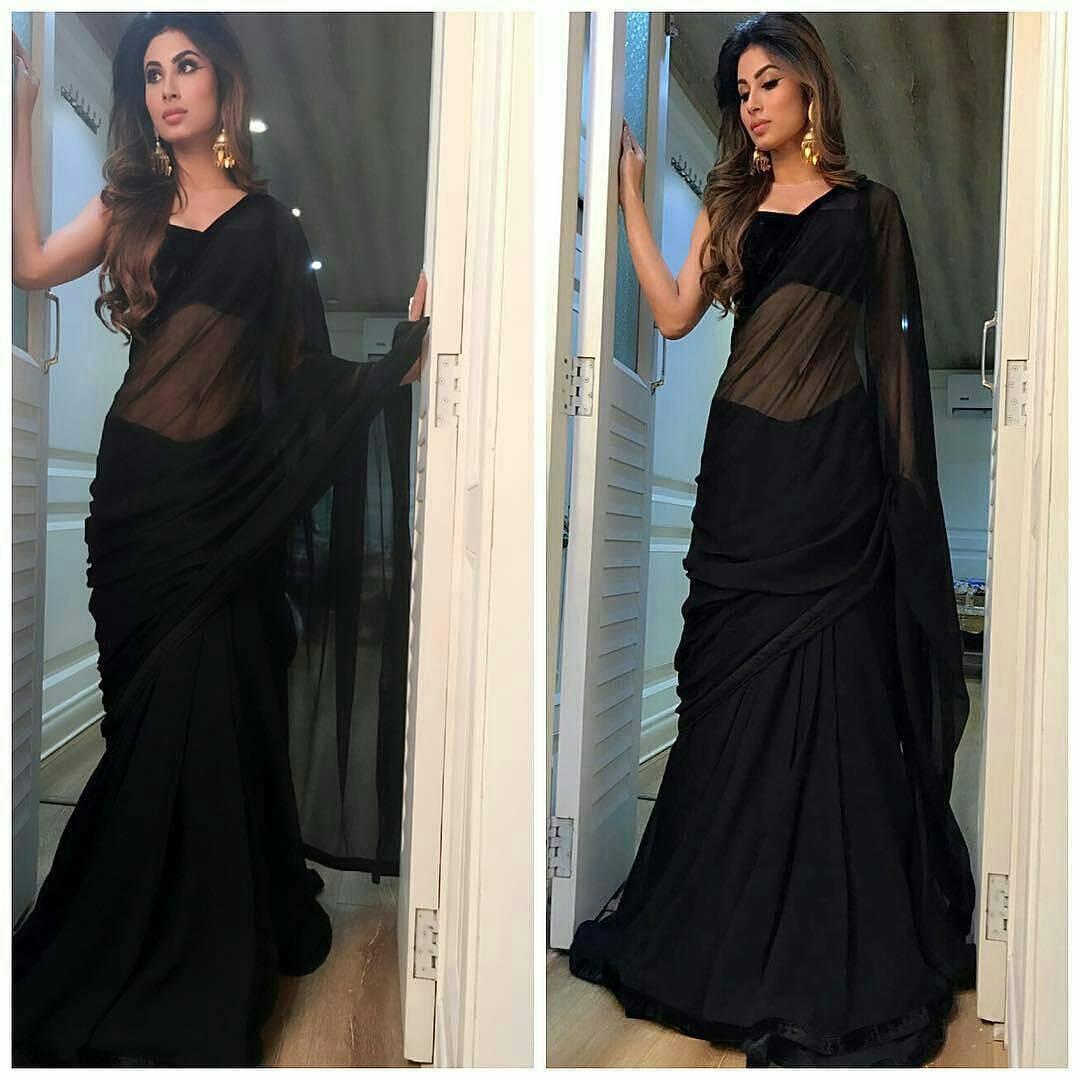 Mouni Roy Hot in Black Saree