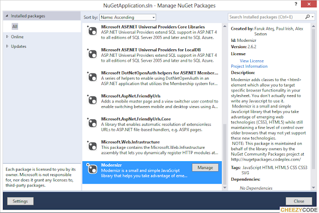 Nuget Package Manager Installed Packages