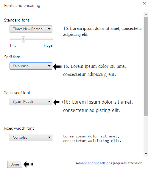 fonts and encoding