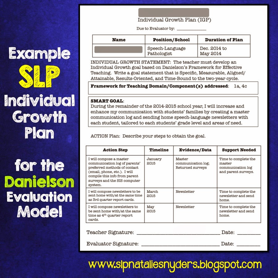 creating an individual growth plan for the danielson model as an if you want to use a goal like this i highly suggest my monthly and or summer speech language homework packets or my parent teacher speech language