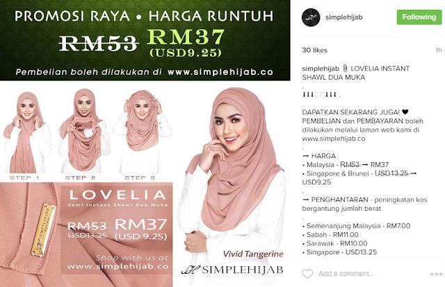 Gambar shawl dua muka simple hijab