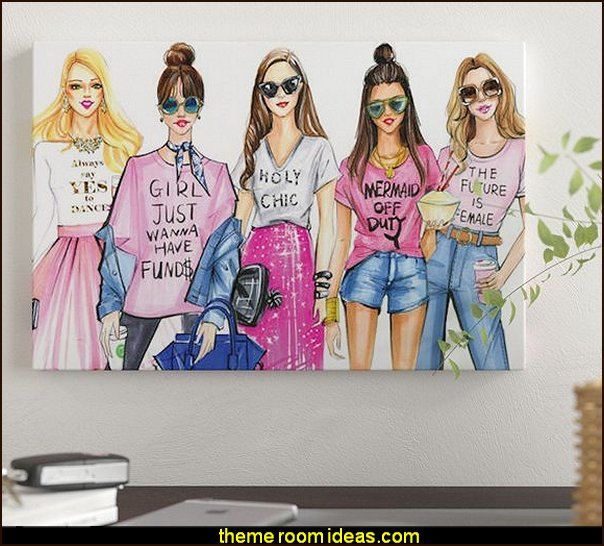 fashionistas Love PINK  Graphic Art Print on Canvas  Fashionista - Diva Style bedroom decorating - runway theme bedroom ideas - shoe decor - Fashion Diva bedroom ideas - Fashionista Runway bedroom decorating -  Boutique Decor - girls boutique theme bedroom ideas - fashion artwork - Paris  fashionista bathroom decor -  shopping boutique style playroom -  chanel wall decal stickers - fashionista room decor - fashion themed bedroom decor