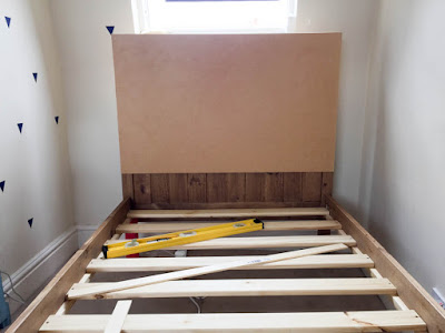 DIY headboard ready for upholstery