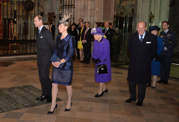 Countess Sophie wore Bruce Oldfield jacket and dress, Beauchamps of London Clutch Bag, PRADA pump, Heavenly Necklaces Sapphire Earrings