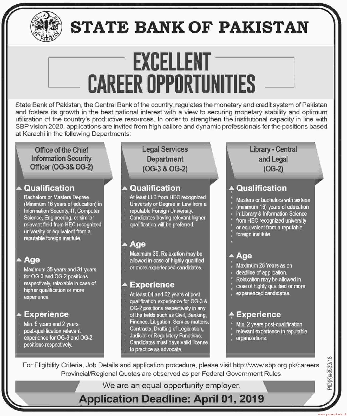 State Bank of Pakistan Jobs 2019 Latest Online Apply