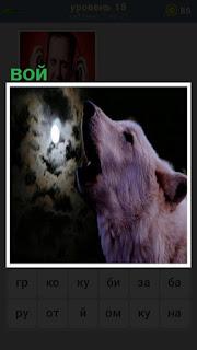 волк с открытой пастью воет на луну в ночное время