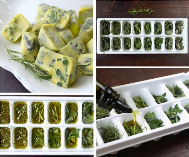 Não jogue fora as ervas que ficaram amarelas; o melhor é misturá-las com azeite de oliva e colocar a mistura numa forma de gelo.