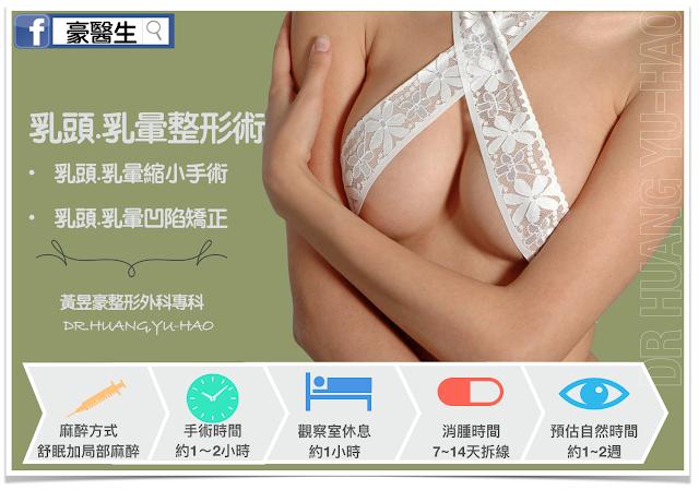 乳頭乳暈整形術~~乳頭乳暈縮小手術。乳頭乳暈凹陷矯正
