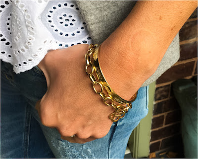 My Midlife Fashion, Stella and Dot link charm bracelet, stella and dot inpsiration love bangle