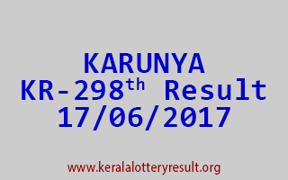 KARUNYA Lottery KR 298 Results 17-6-2017
