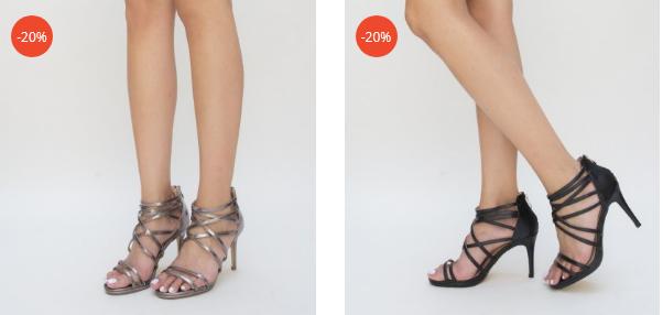 Sandale negre, gri elegante cu barete dese moderne cu toc inalt