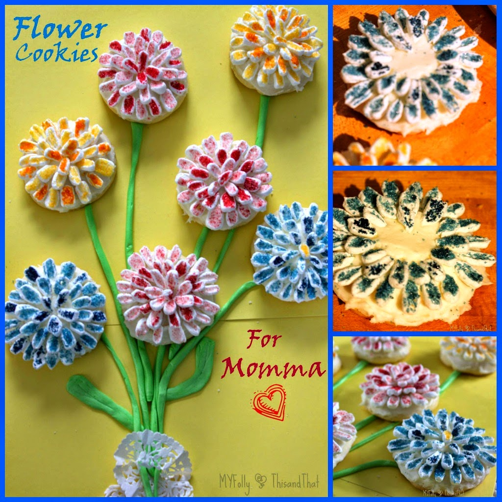 Flower Cookies for Mama/This and That #cookies #mothersday #fillthecookiejar