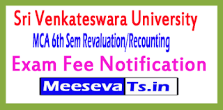 Sri Venkateshwara University MCA 6th Sem Revaluation/Recounting Exam Fee Notification