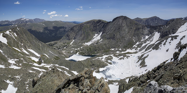 summit view of Mt. Ida with Mt. Julian and Azure Lake in Rocky Mountain National Park