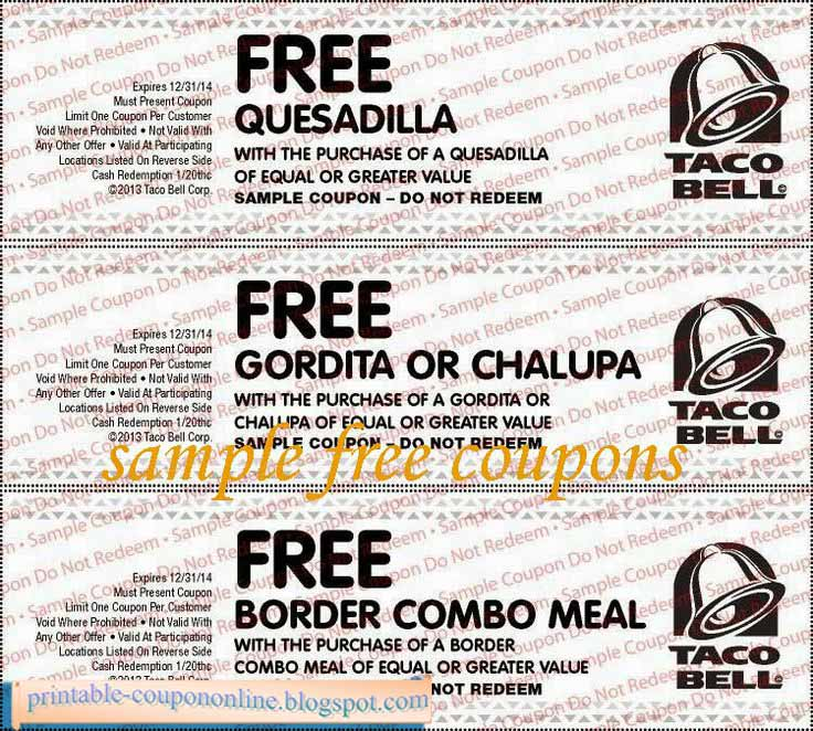 photograph regarding Taco Bell Printable Coupons identify Taco bell discount coupons oct 2019