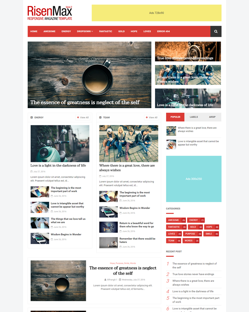 RisenMax - Magazine Template for Blogger, Mobile and SEO Friendly